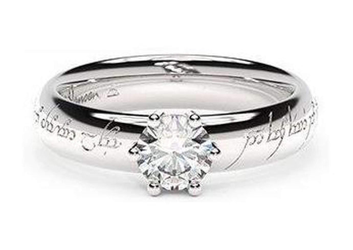 Classic Elvish Engagement Ring, ~.50ct 9ct White Gold