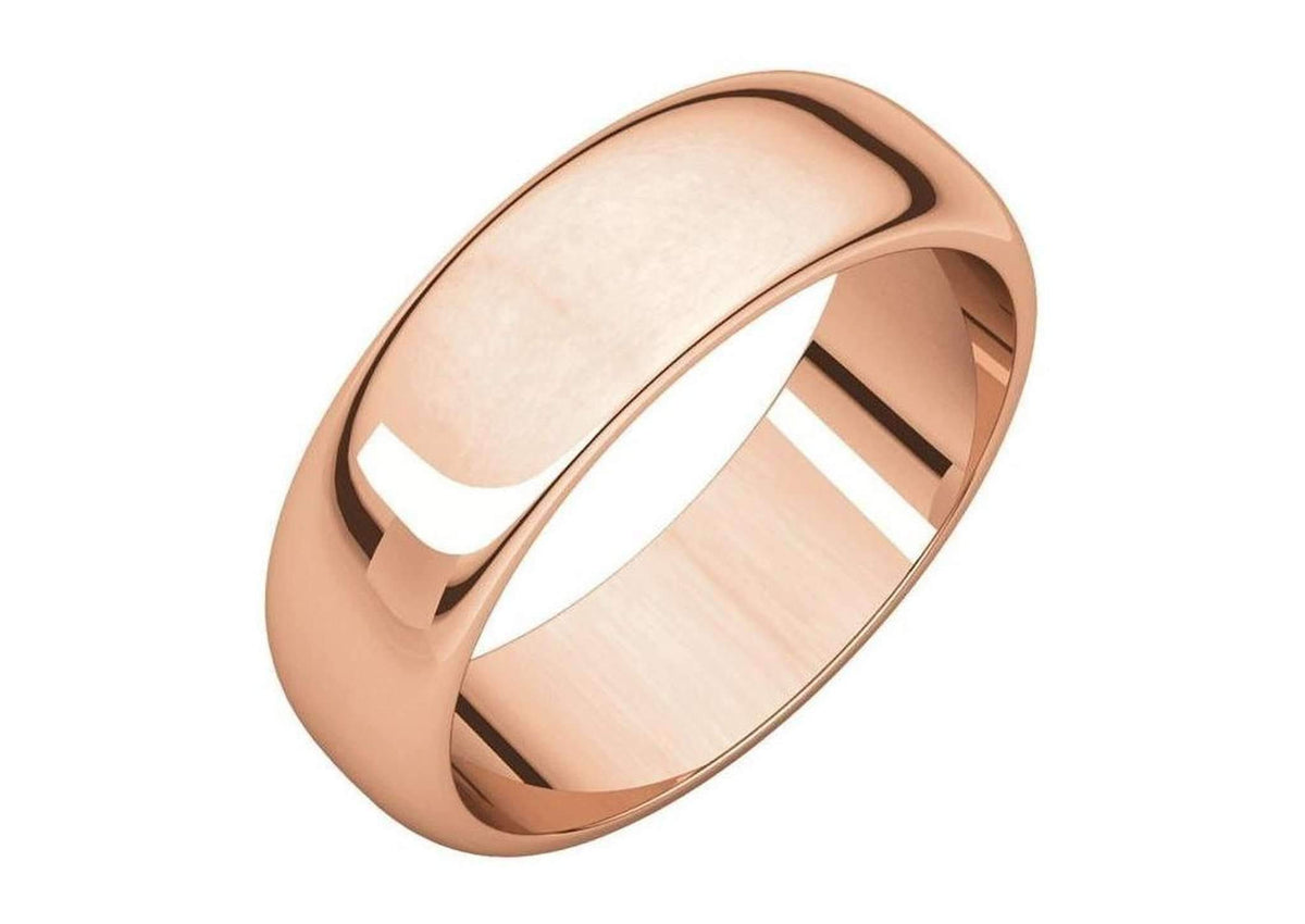 3-12mm Classic Half Round Wedding Band. Red Gold.