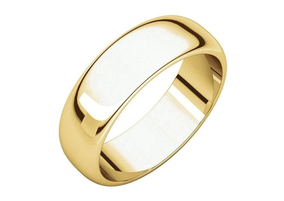 3-12mm Classic Half Round Wedding Band. Yellow Gold.