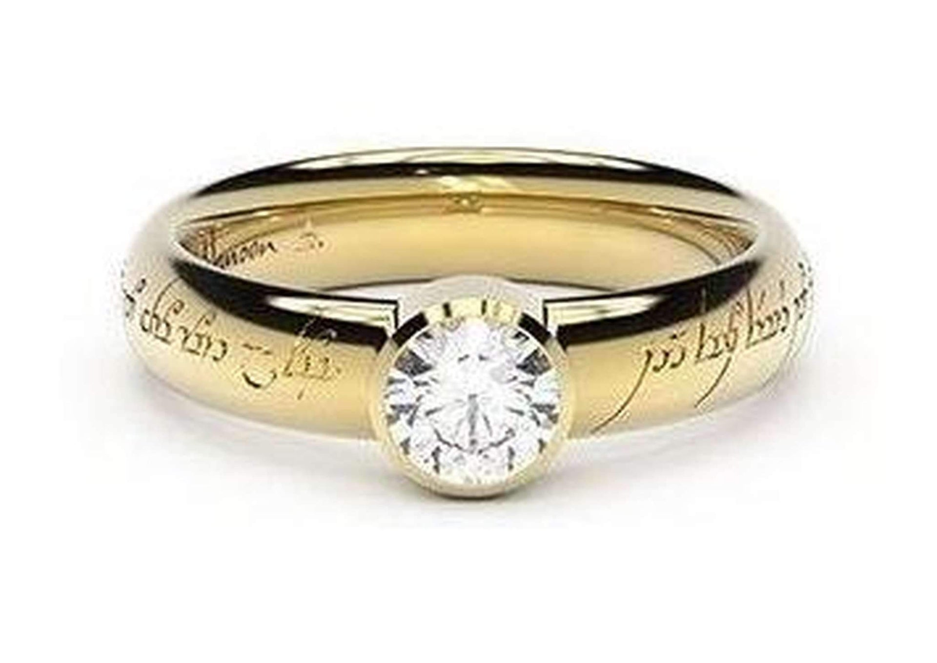 Modern Elvish Engagement Ring, ~.50ct 9ct Yellow Gold