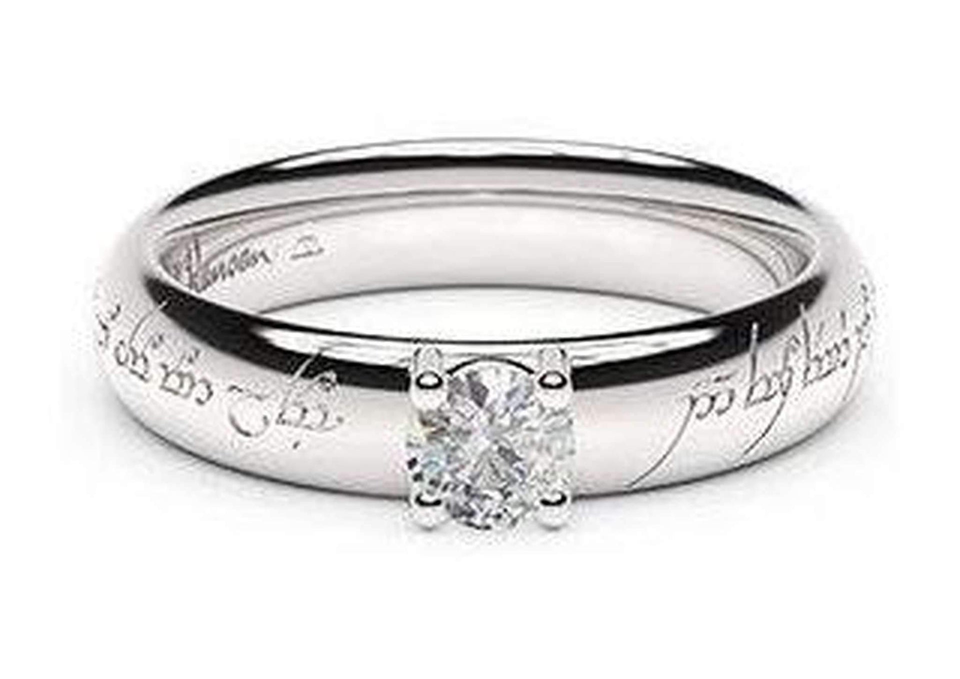 Contemporary Elvish Engagement Ring, ~.50ct 14ct White Gold