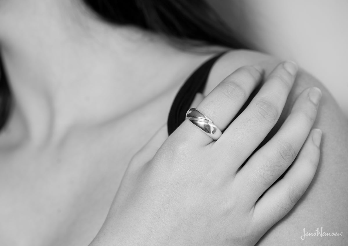 Geometric Domed Ring, White Gold & Platinum