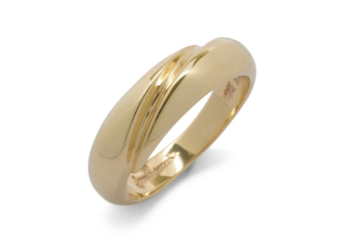 Geometric Domed Ring, Yellow Gold