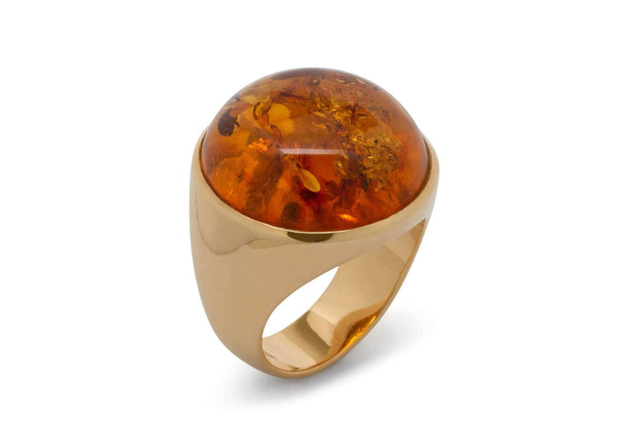 Round Amber Ring, Yellow Gold