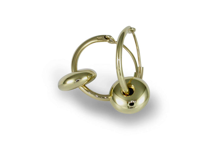 Button Hoop Earrings, Yellow Gold
