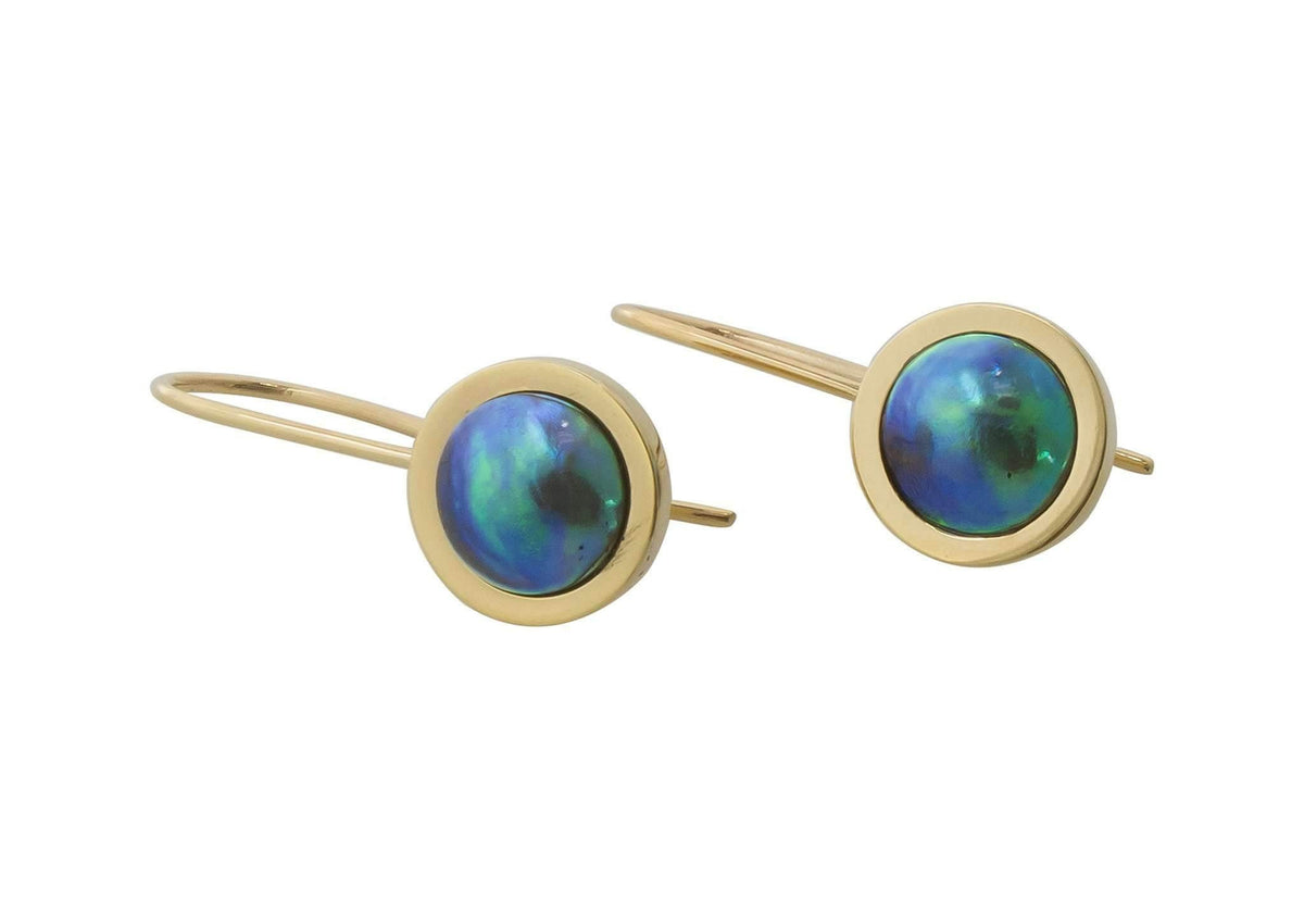 Paua Pearl Earrings, Yellow Gold