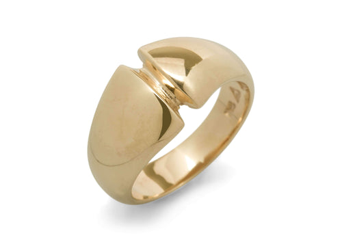 Geometric Dome Ring, Yellow Gold