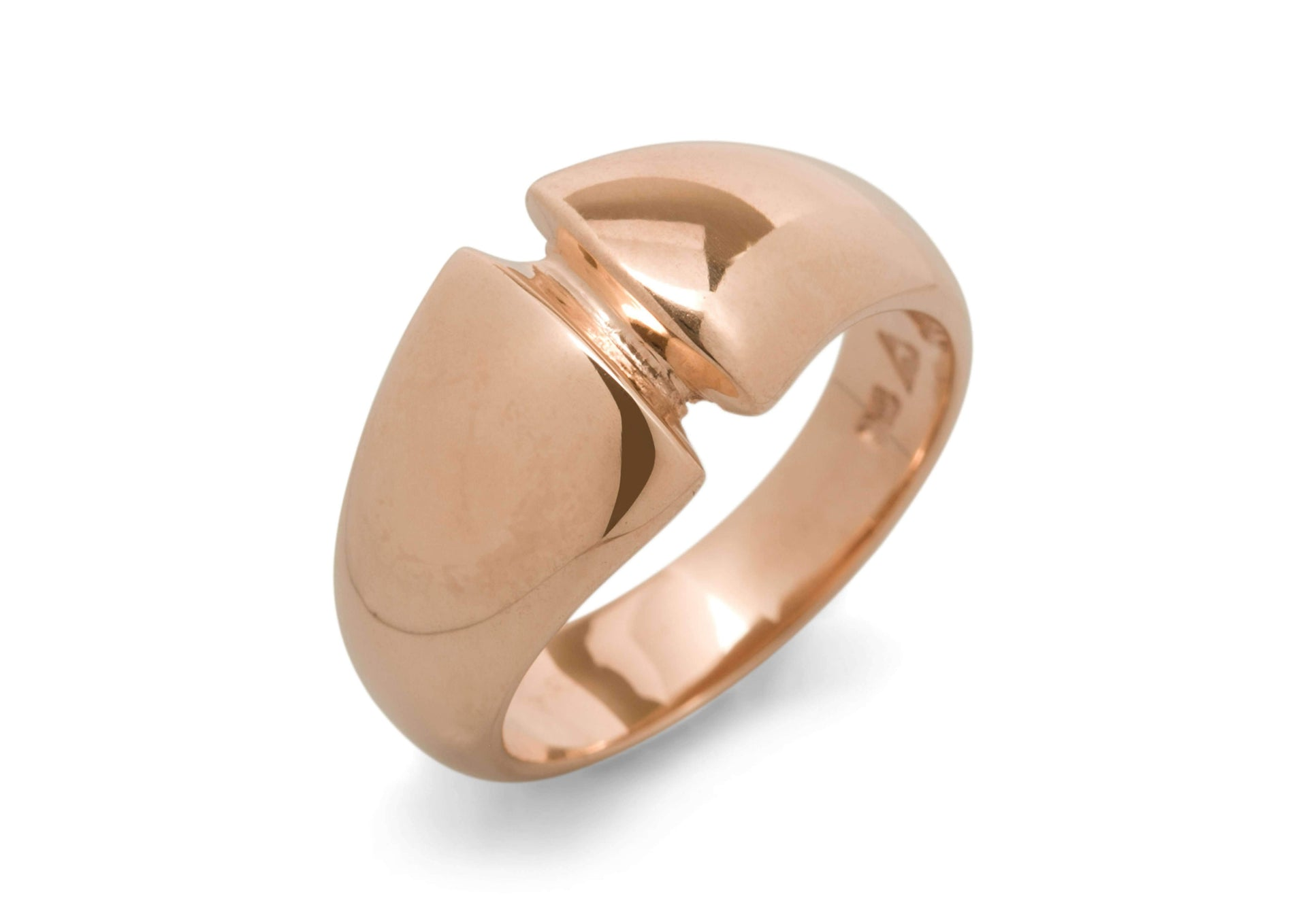 Geometric Dome Ring, Red Gold