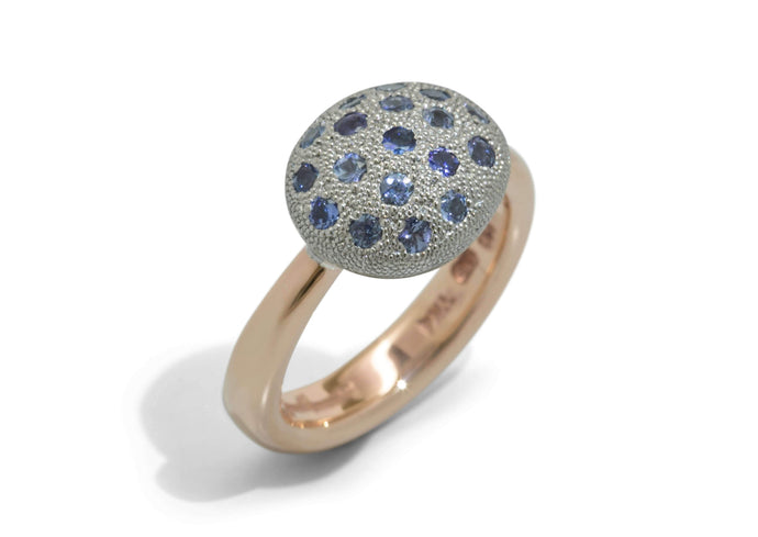 Pave Button Ring, Platinum & Red Gold