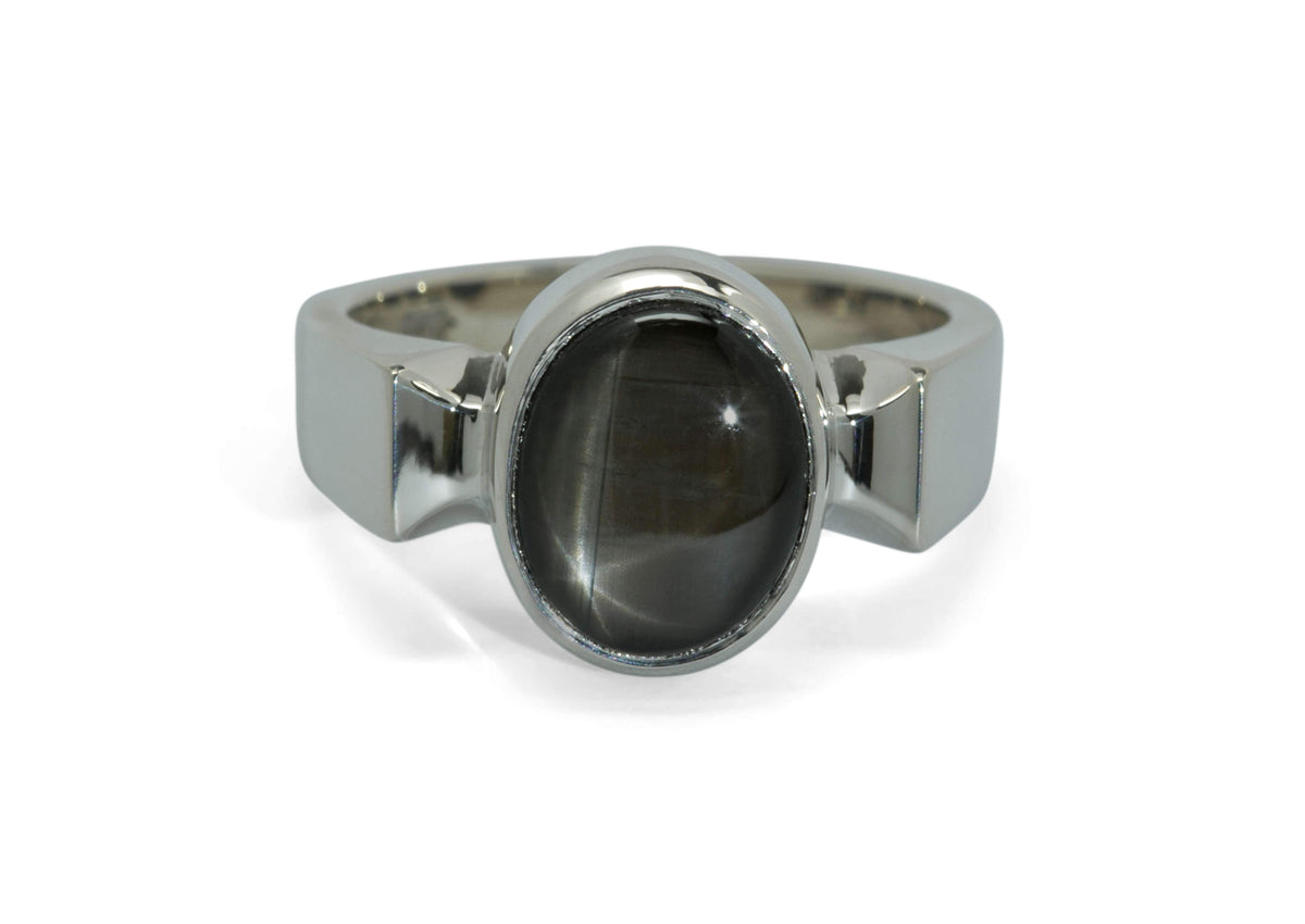 Classic Cabochon Gemstone Ring, White Gold & Platinum