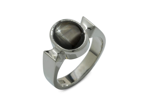 Classic Oval Cabochon Gemstone Ring, White Gold & Platinum
