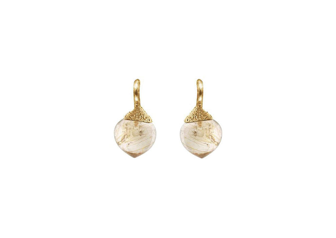 Dew Drops earrings in 18K yellow gold with rutile quartz