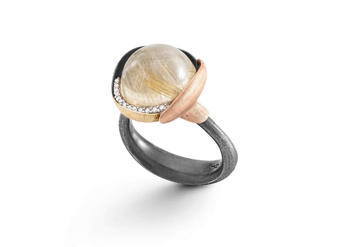 Lotus Ring in Gold and Silver with Rutile Quartz and Diamonds