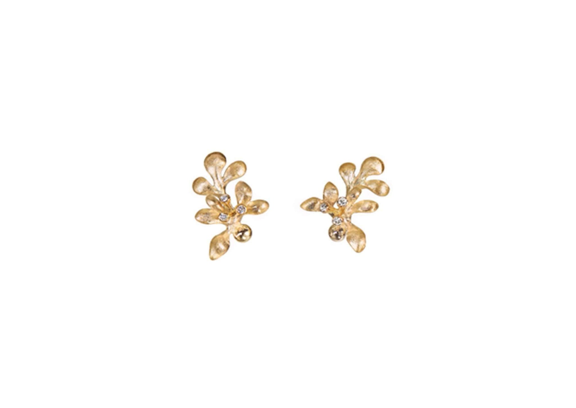 Gipsy earrings in 18K yellow gold and diamonds