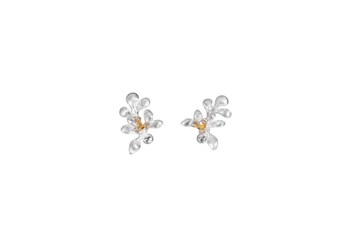 Gipsy earrings in 18K white gold and diamonds