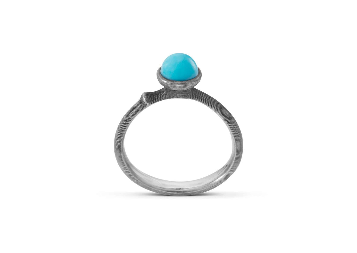 Lotus Ring in Sterling Silver with Turquoise