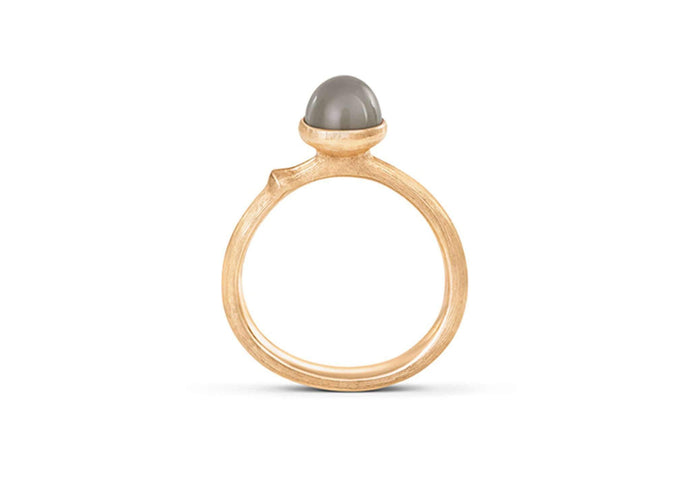 Lotus Ring in 18ct Yellow Gold with Grey Moonstone