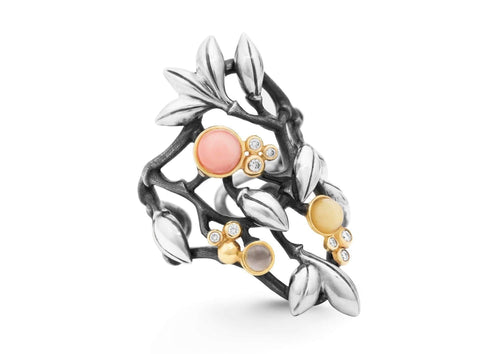 Silver Forest ring in gold and silver with mixed stones and diamonds TW.VS