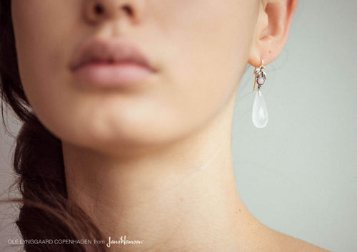 Earrings in Sterling Silver and 18 carat yellow gold, rose opal and white quarts cabochon drop