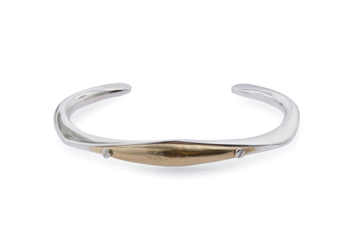 Men's Two Tone Cuff Bangle, Sterling Silver & Yellow Gold