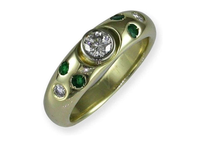 18ct  Diamond & Emerald Ring   - Jens Hansen