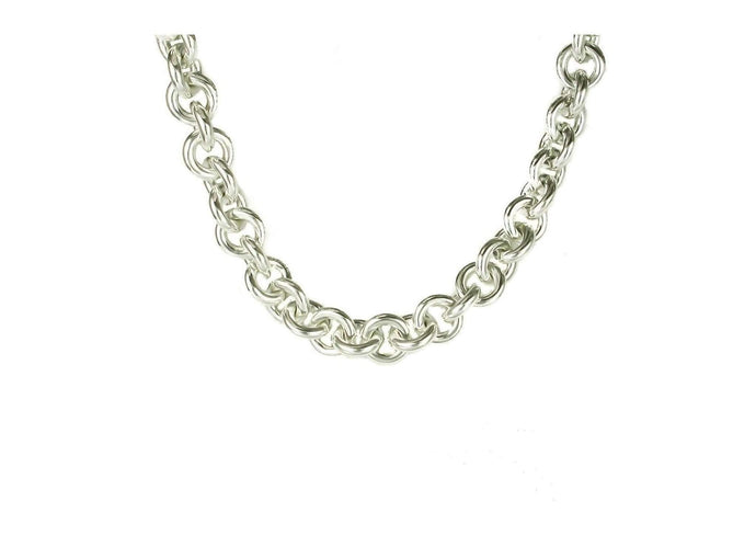 Open Round Link Necklace, Pure Silver