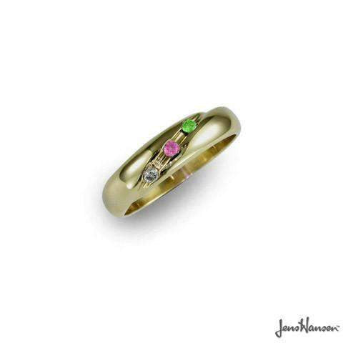 14JW1|DIRQPD, Size L.5, 14ct White gold Ring with Rose quartz, Diamond & Peridot.   - Jens Hansen