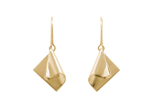 Folded Drop Earrings, Yellow Gold