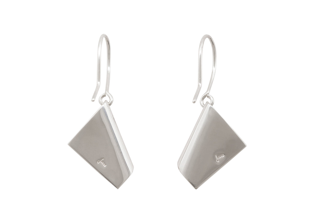 Folded Drop Earrings, White Gold & Platinum