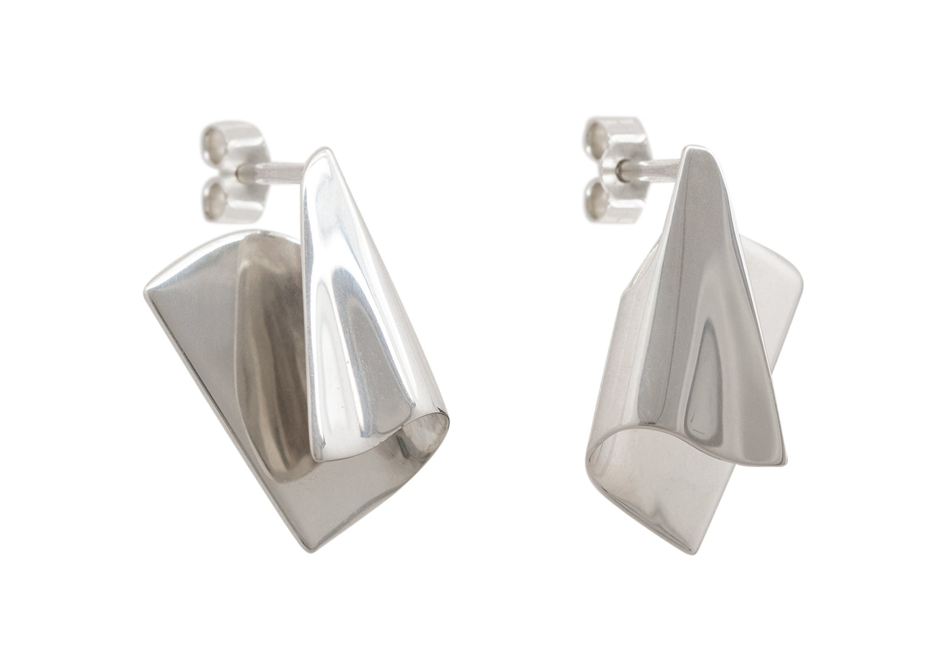 Folded Cuff Earrings, White Gold & Platinum