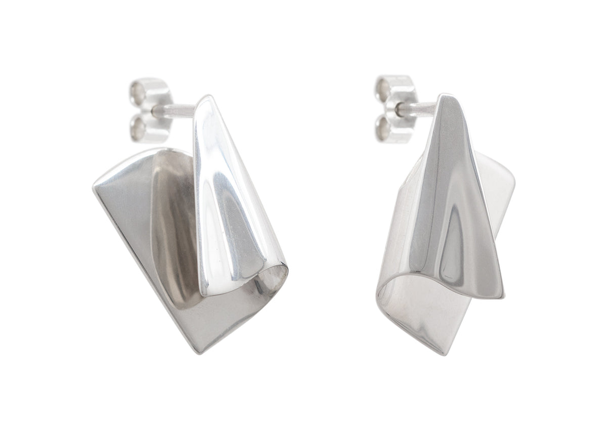 Folded Cuff Earrings, Sterling Silver