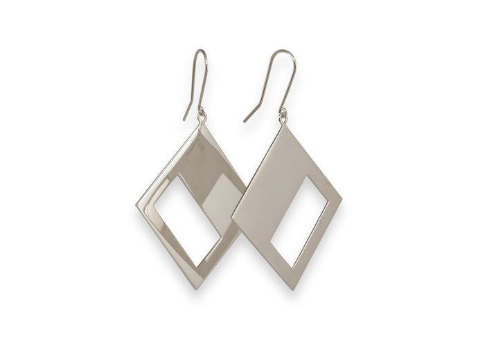 2019 Legacy Portrait Earrings, White Gold & Platinum