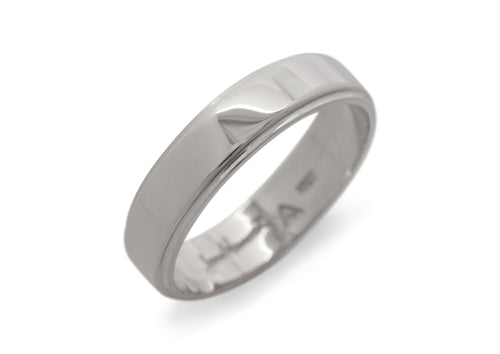 Stepped Edge Wedding Band, White Gold & Platinum