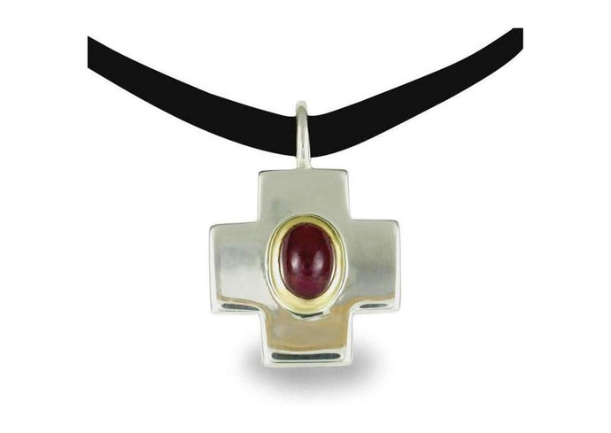Silver & 9ct Gold Cross with Garnet   - Jens Hansen