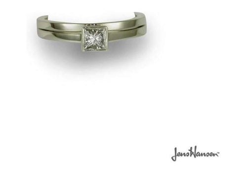 Platinum & Diamond Solitaire Ring Set   - Jens Hansen