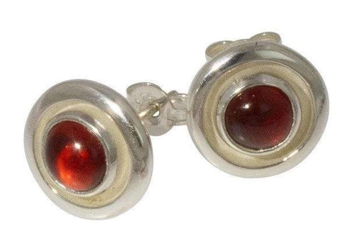 Sterling Silver Cabochon cut Garnet Earrings   - Jens Hansen
