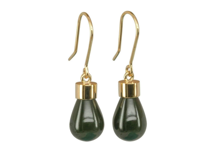 New Zealand Greenstone 'Pounamu' Earrings, Yellow Gold   - Jens Hansen - 1