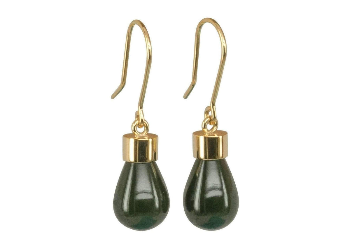 New Zealand Greenstone 'Pounamu' Earrings, Yellow Gold