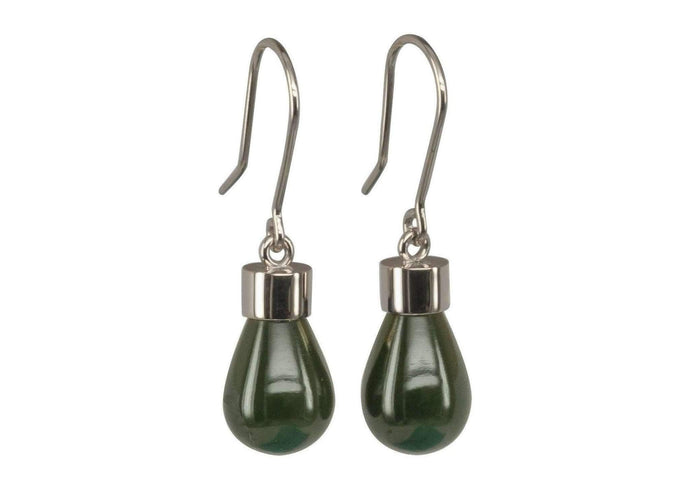 New Zealand Greenstone 'Pounamu' Earrings, White Gold, Platinum & Palladium   - Jens Hansen - 1