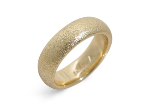 Hammer Finished Wedding Band, Yellow Gold