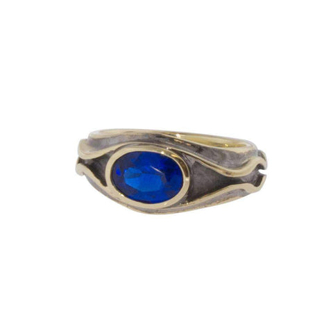 9ct Elrond Ring with Imitation Synthetic Sapphire   - Jens Hansen
