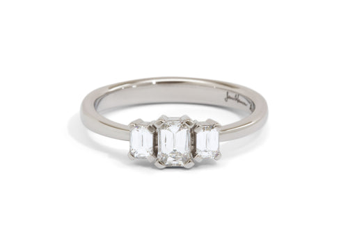 Three Stone Crisscut Diamond Engagement Ring, White Gold & Platinum