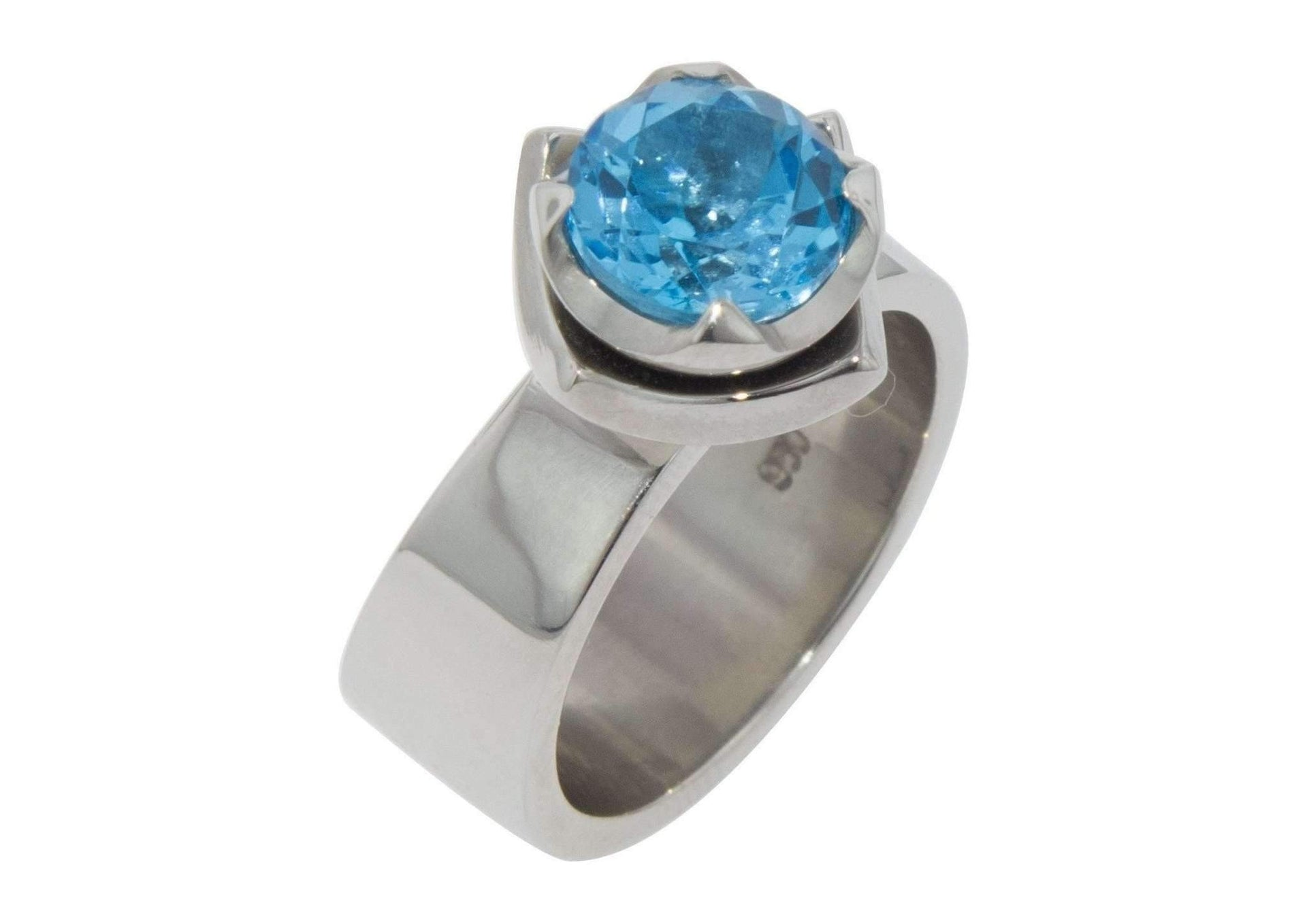 Palladium Blue Topaz Flower Ring design   - Jens Hansen