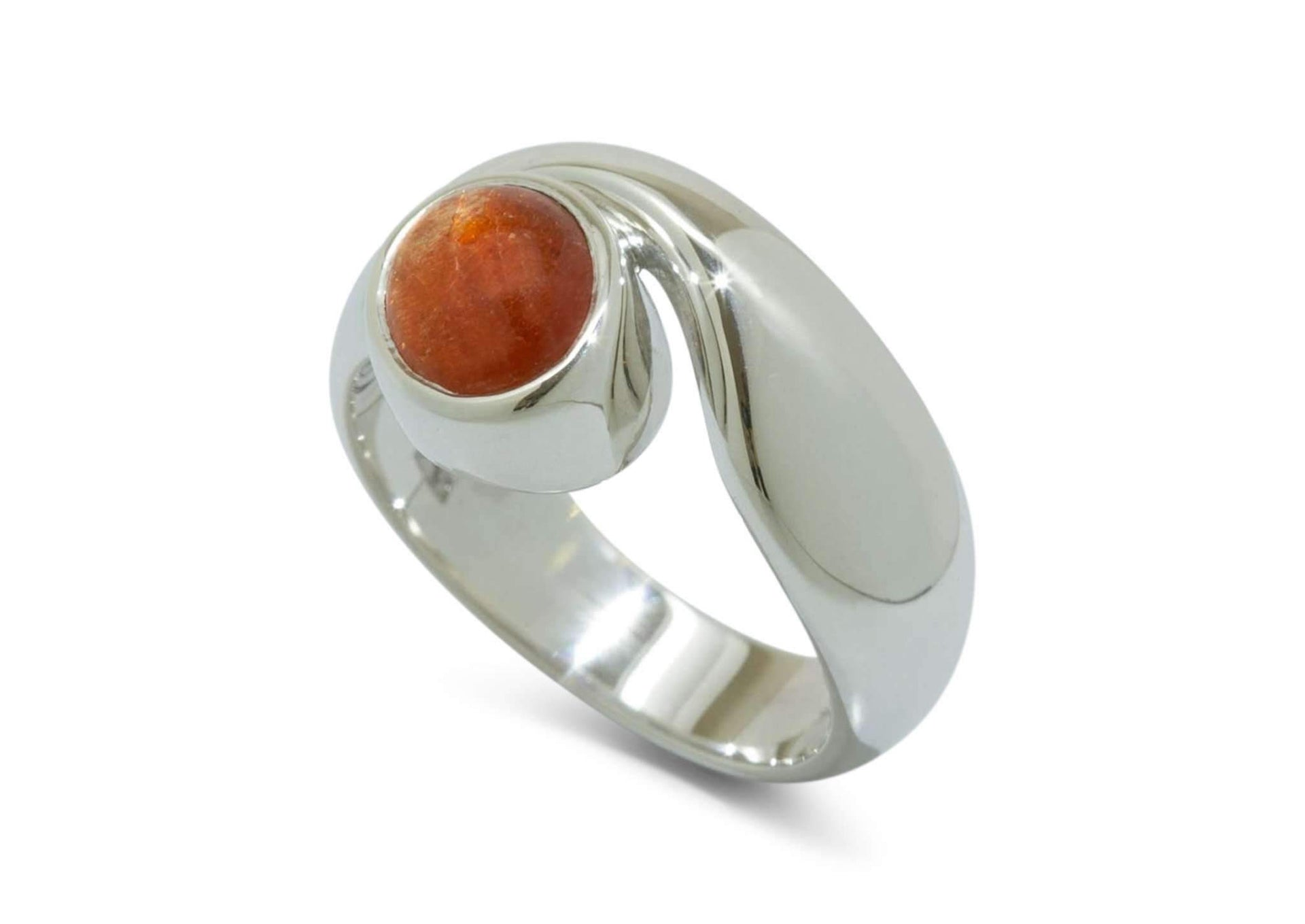 Sterling Silver ring with Orange Sunstone