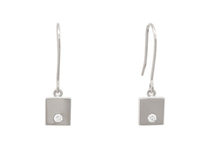 "Square ""Love Stories"" Diamond Earrings, Sterling Silver"
