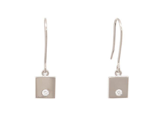 Square Love Stories Diamond Earrings, White Gold & Platinum