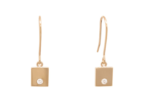 "Square ""Love Stories"" Diamond Earrings, Yellow Gold"