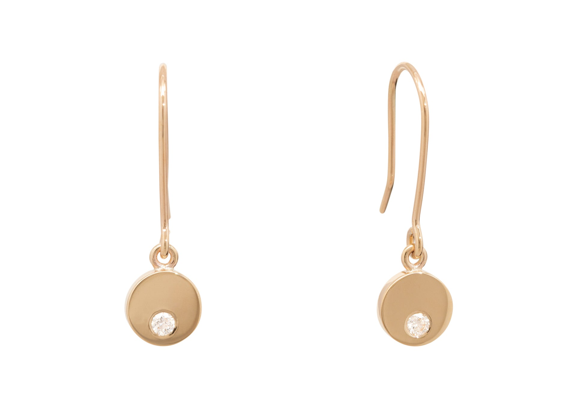 Round Love Stories Diamond Earrings, Yellow Gold