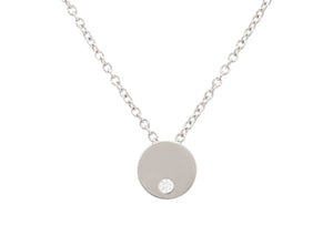 "Round ""Love Stories"" Diamond Pendant, White Gold & Platinum"