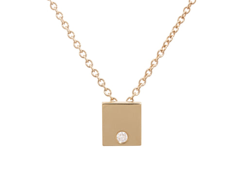Square Love Stories Diamond Pendant, Yellow Gold